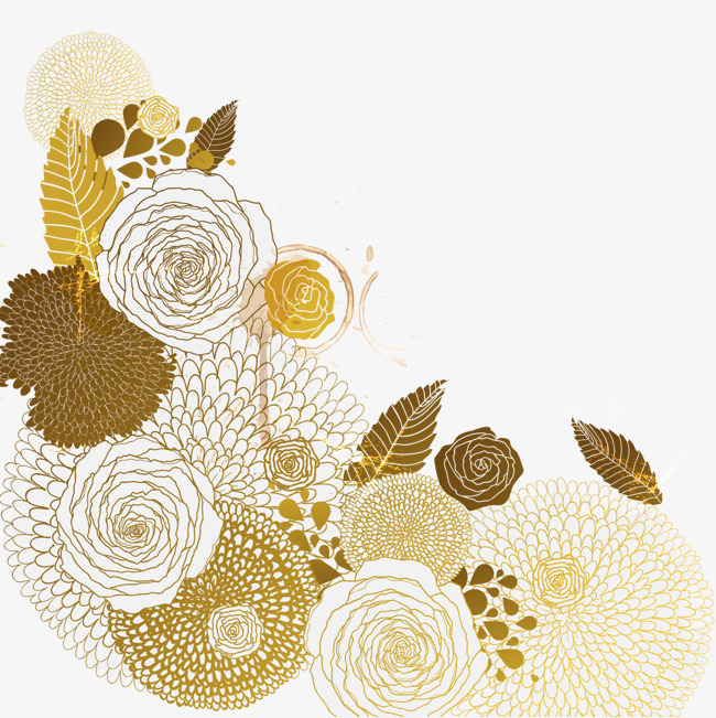 650x651 Vector Golden Flower Pattern, Pattern Vector, Pattern, Vector
