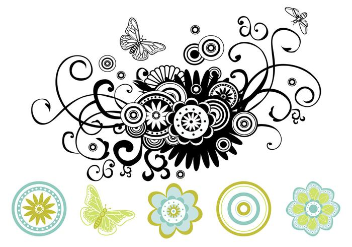 700x490 Floral Swirls Vector Pack