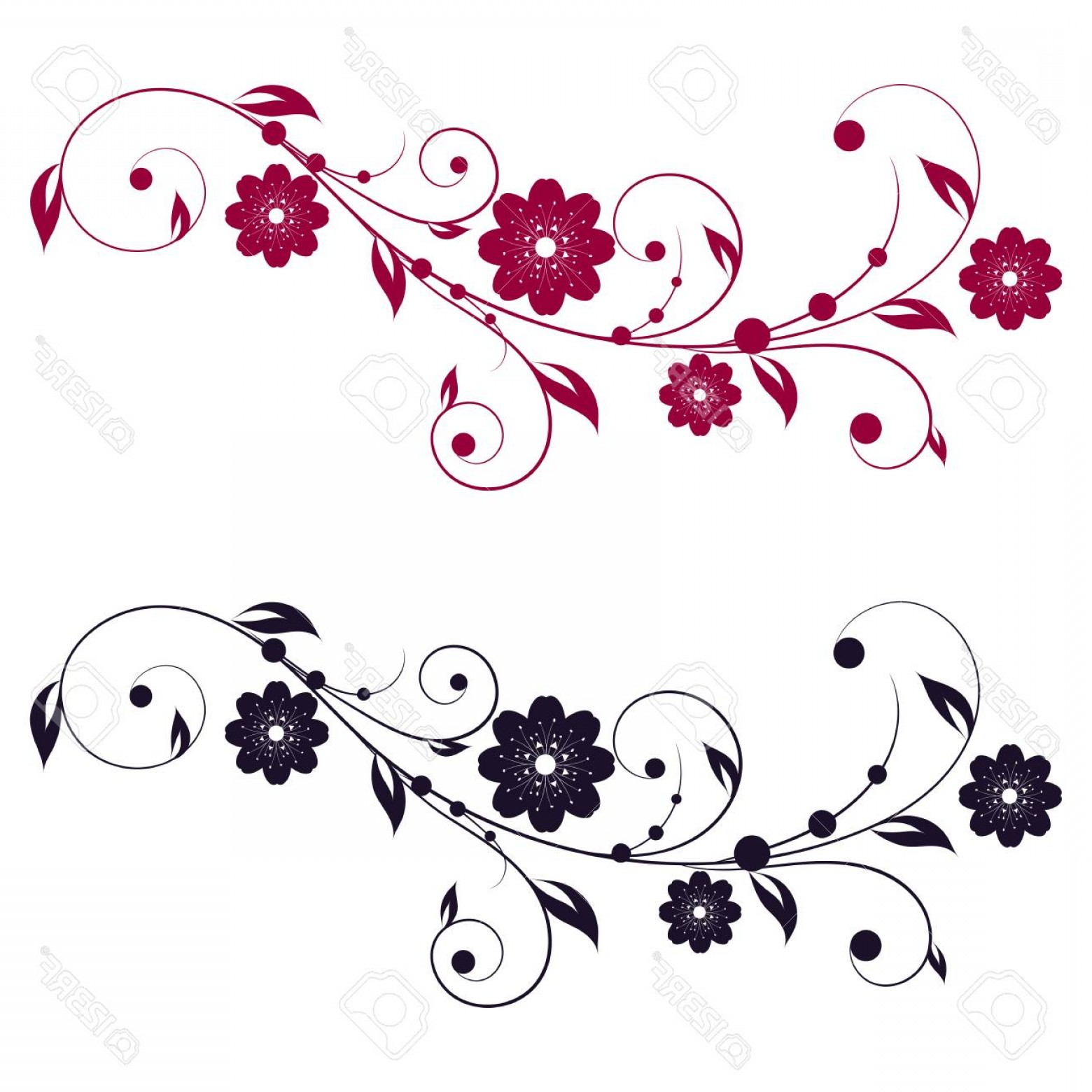 1560x1560 Photostock Vector Abstract Vertical Floral Swirl Silhouette Vector