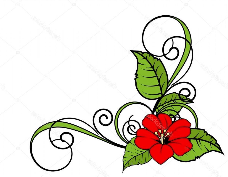 1227x954 Stock Illustration Red Flower Swirl Corner Frame Rongholland