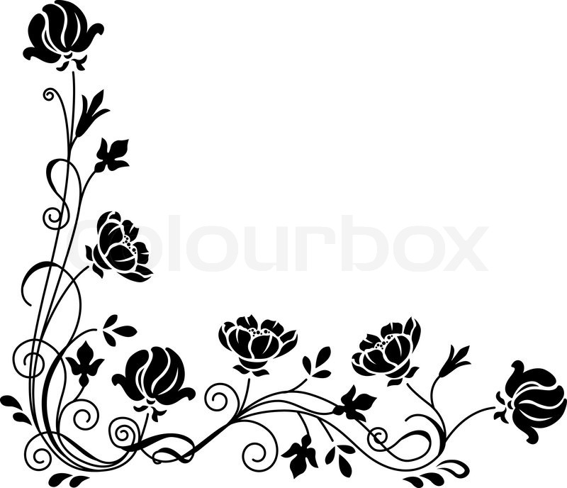 800x688 Stylized Black And White Floral Swirl Branch Stock Vector
