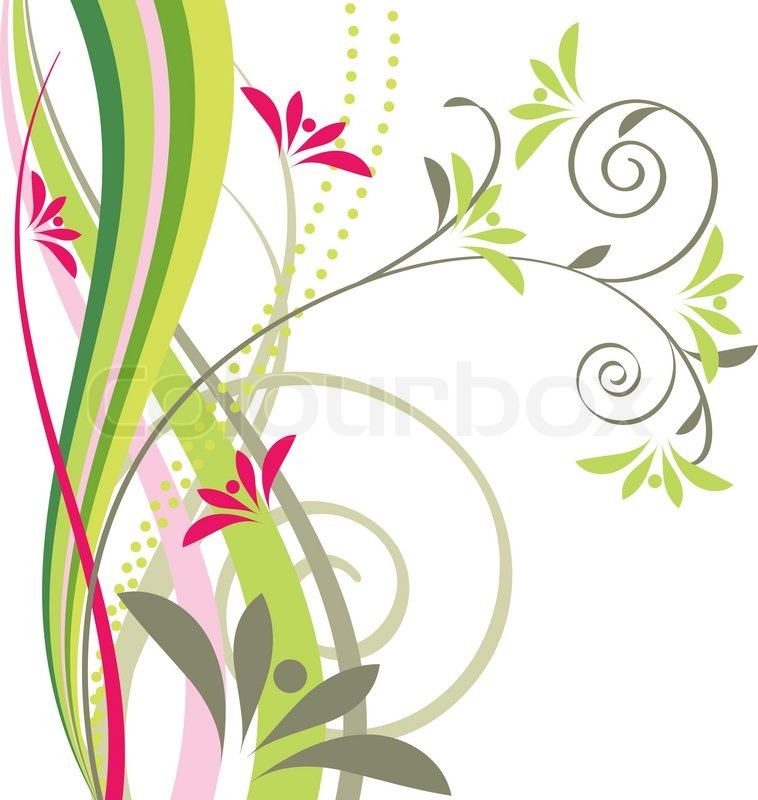 758x800 Stylized Floral Design Element With Flowers And Swirls Stock