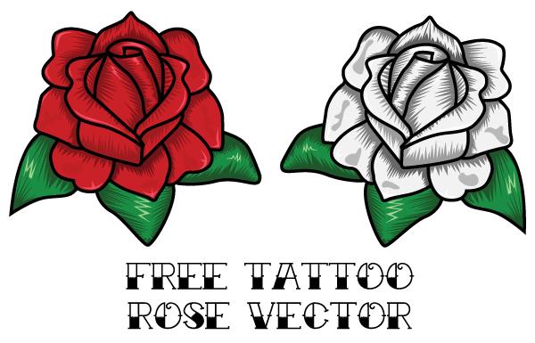 600x385 Free Rose Tattoo Vector 123freevectors
