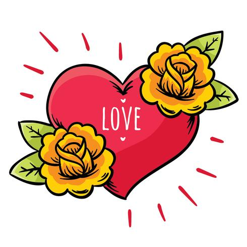 490x490 Heart And Flowers Tattoo Vector