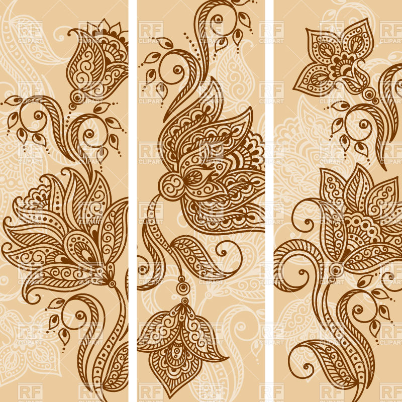 800x800 Indian Banners With Mehndi Style Flowers