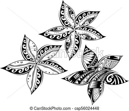 450x389 Plumeria Flower As Tribal Style Tattoo. Plumeria Flower As Tribal