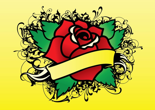 646x461 Rose Tattoo Vector Vector Free Download