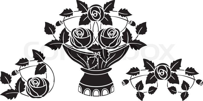 800x399 Rose In Vase Tattoo Vector Illustration For Web Stock Vector