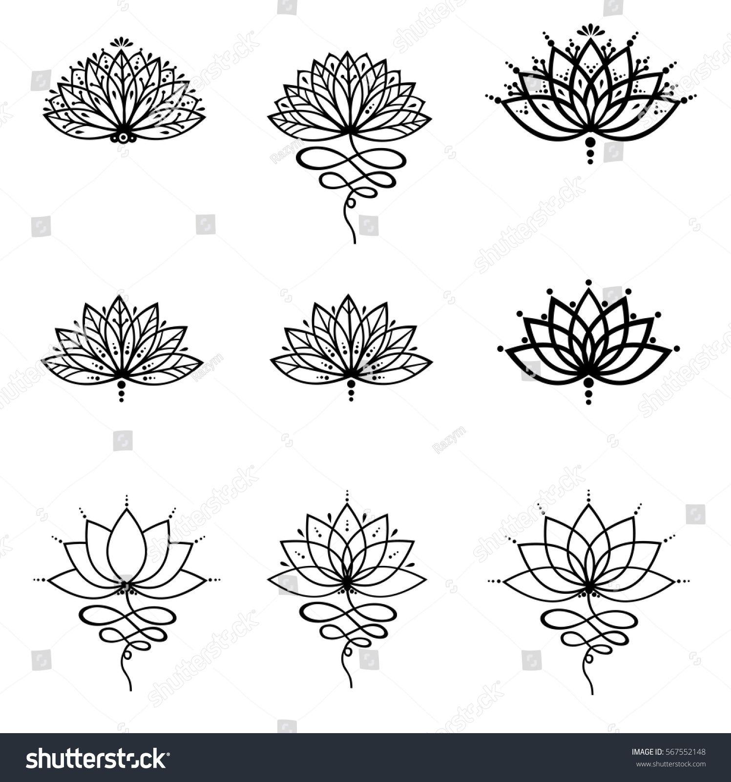 1497x1600 Set Ornamental Lotus Flower Vector Illustrtation Tattoo, Patterned