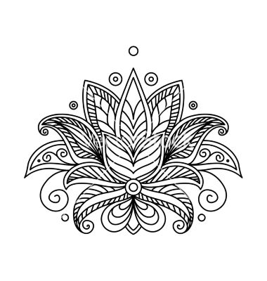 380x400 Turkish Or Persian Floral Design Lotus Tattoo Vector By Seamartini