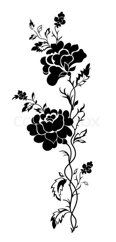 384x800 Vector Flower Pattern A Rose, Tattoo Stock Vector Colourbox