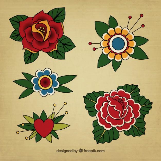 626x626 Vintage Floral Tattoos Vector Free Download