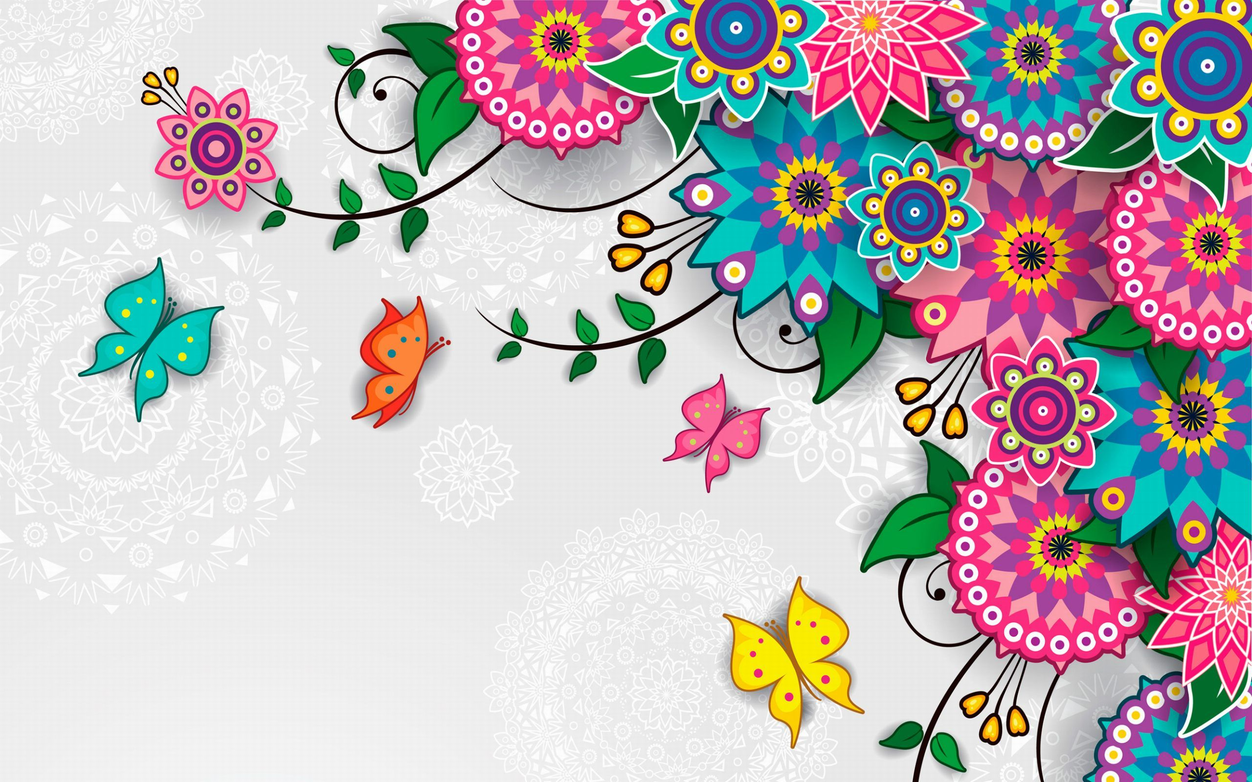 2560x1600 Flowers Pattern Vector Art Background Wallpaper Wallpaper