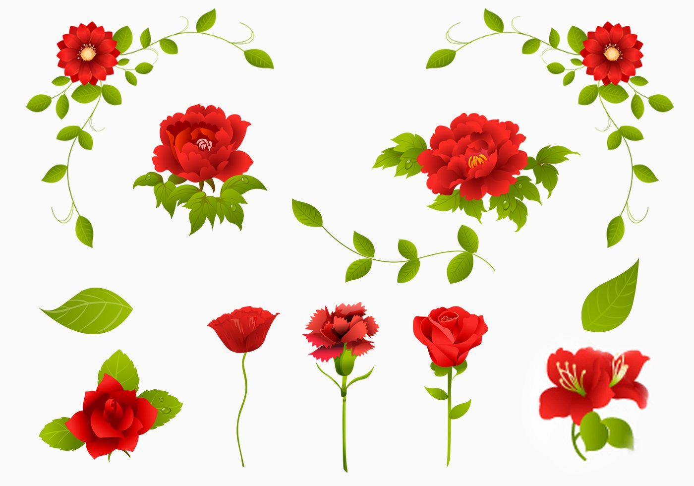 1400x980 Red Rose, Carnation, And Flower Brush Pack