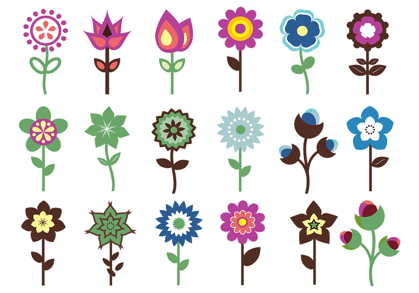 1400x980 Retro Flower Brush Pack