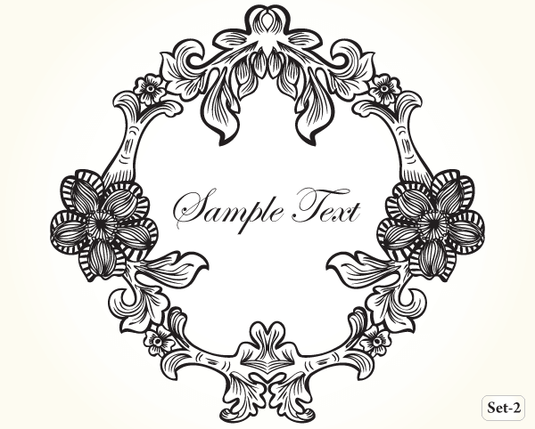 600x482 Vintage Floral Frame Vector Set 2 Vector Amp Photoshop Brushes