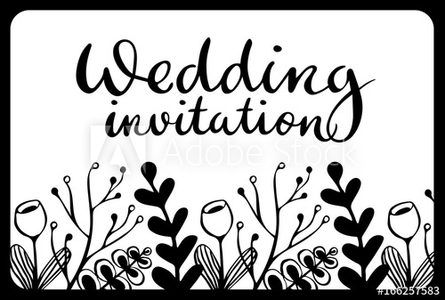 500x337 Vintage Wedding Invitation Card With Black Scandinavian Leaves And