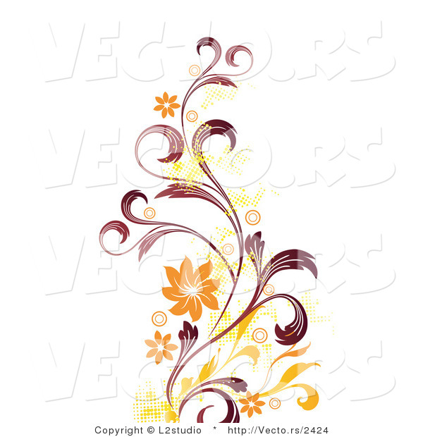 600x620 Flower Vine Vector Clipart