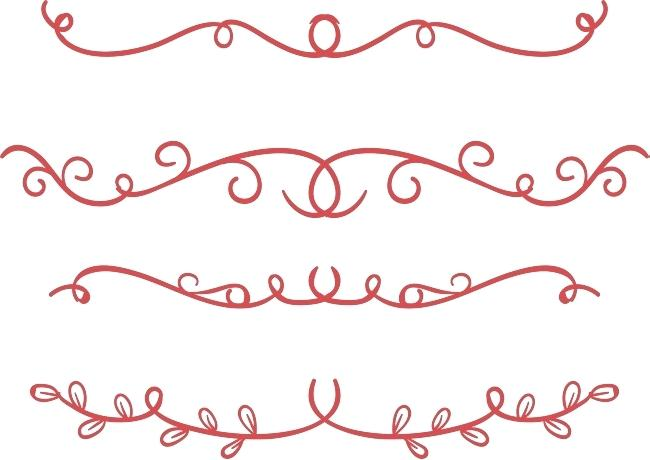 650x460 Flower Divider Red Hand Painted Flower Vine Divider Line Vector