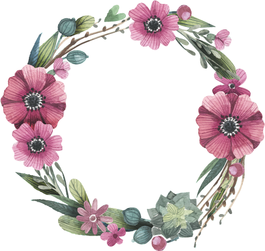 516x489 Flower Watercolor Painting Wreath