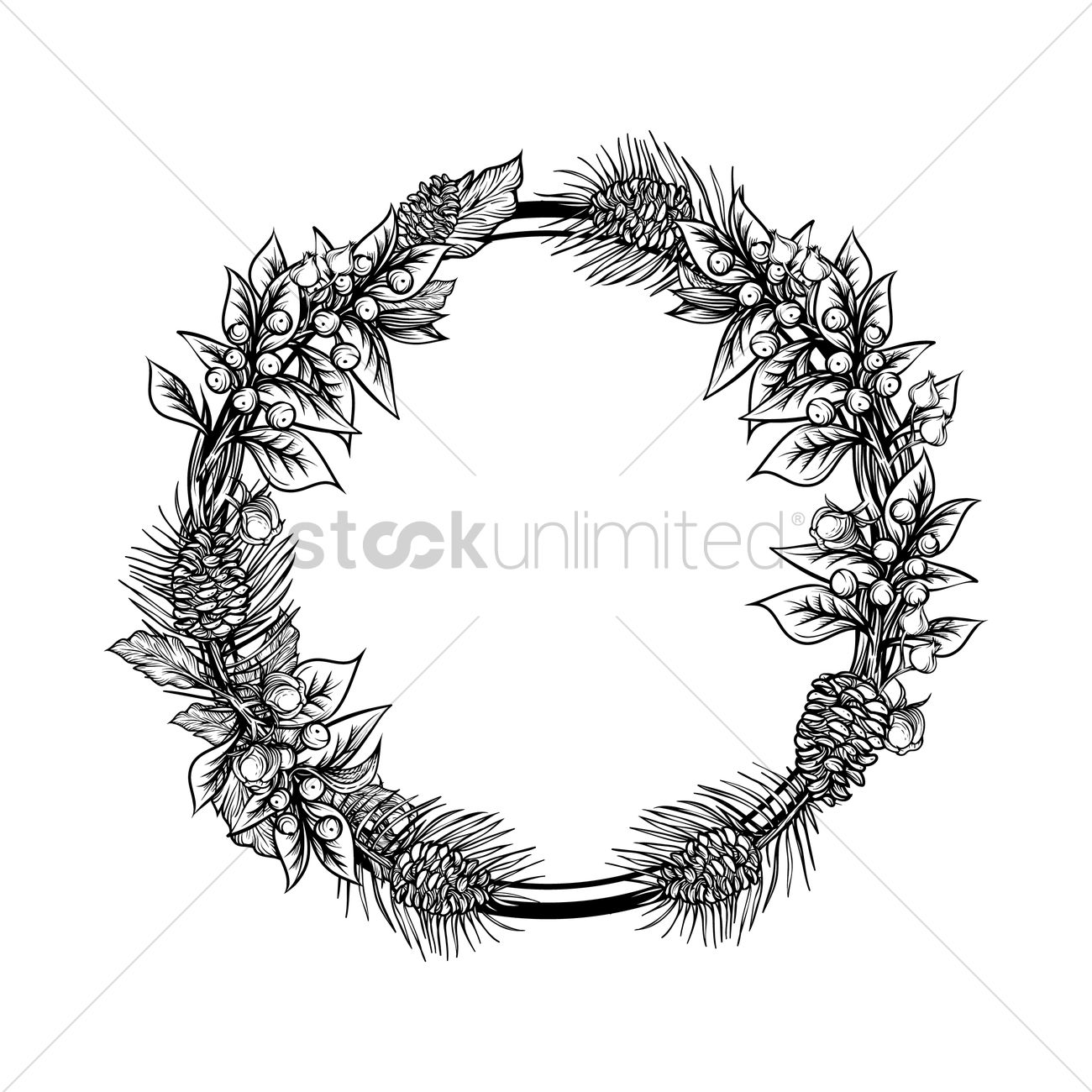 1300x1300 Flower Wreath Vector Image