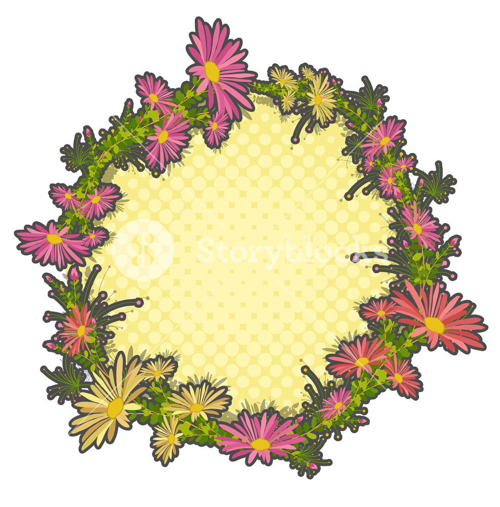 987x1000 Flowers Wreath Vector Illustration Royalty Free Stock Image