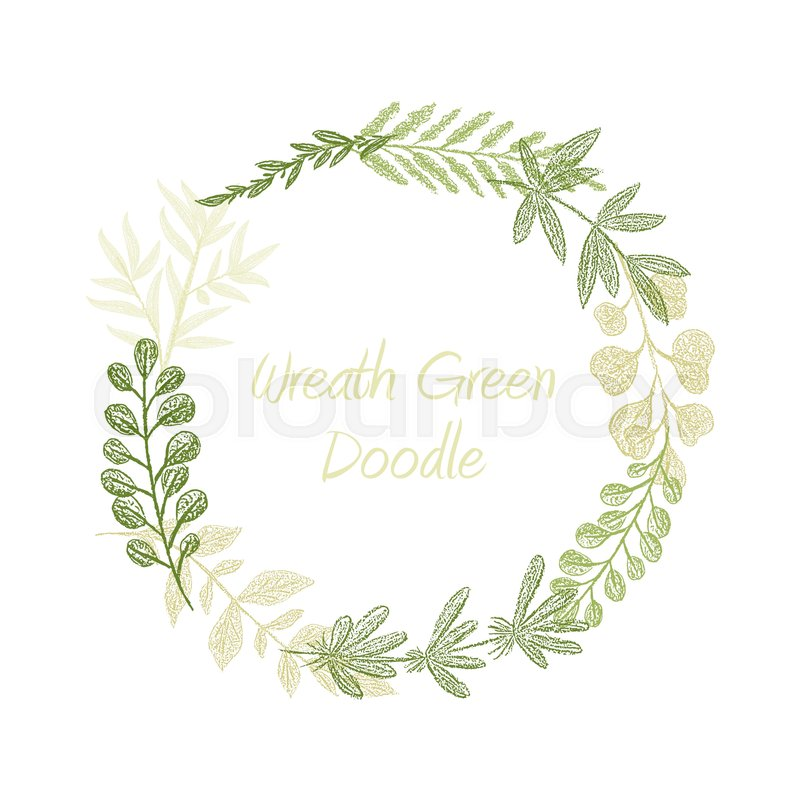 800x800 Greenery Floral Circle Wreath Vector, Greeting, Invitation Or