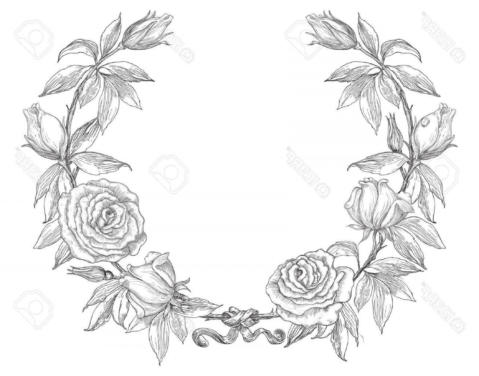 1560x1225 Black Floral Wreath Vector Shopatcloth
