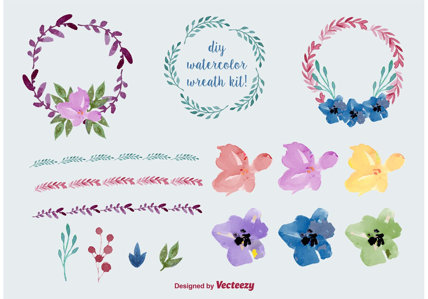 1400x980 Watercolor Floral Wreath Vectors