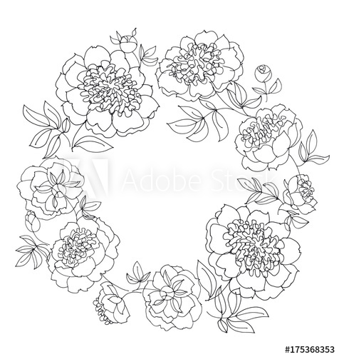 476x500 Peony Flower Wreath Vector Illustration. Line Sketch Hand Drawn