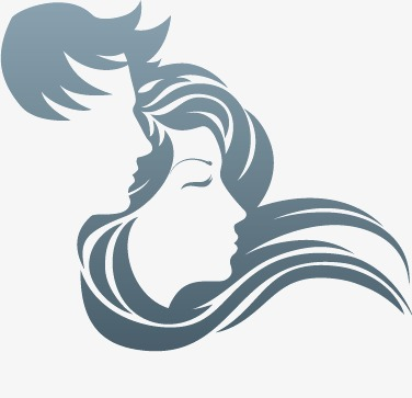 376x363 Male Female Silhouette Vector Flowing Hair, Male, Female