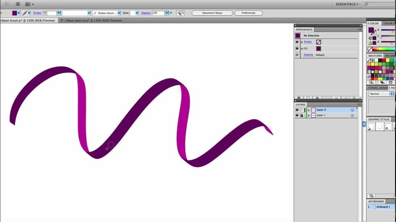 1280x720 Illustrator Tutorial Draw A Free Flowing Vector Ribbon