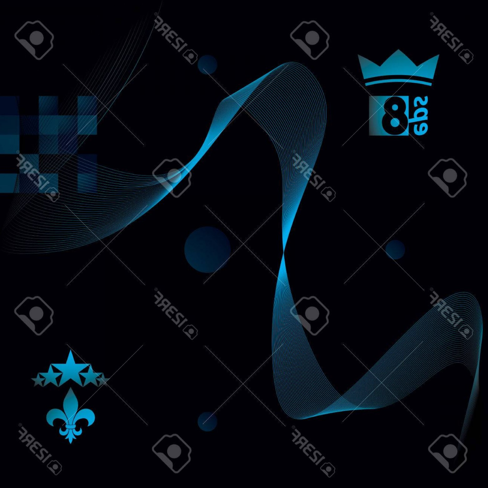 1560x1560 Photostock Vector Blue Dimensional Flowing Stripy Ribbon Dreamy