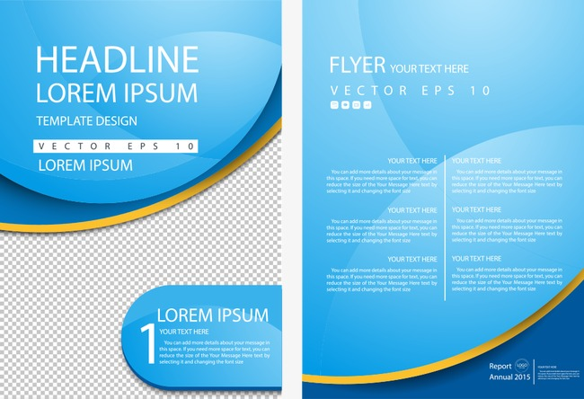 650x444 Vector Business Flyer Blue Curve, Flyer, One