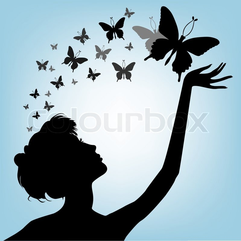 799x800 Female Silhouette And Butterfly Stock Vector Colourbox