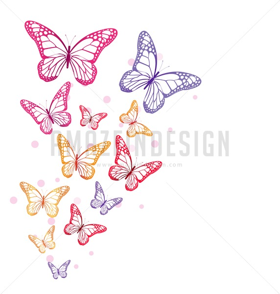 572x600 Flying Butterflies Vector Illusration