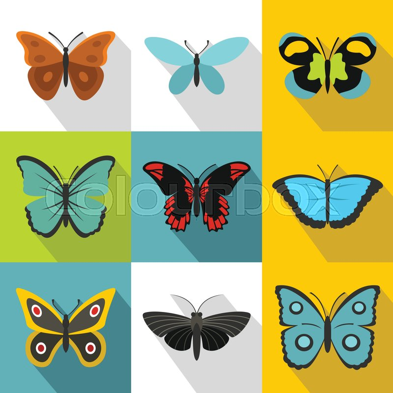 800x800 Flying Butterfly Icons Set. Flat Illustration Of 9 Flying