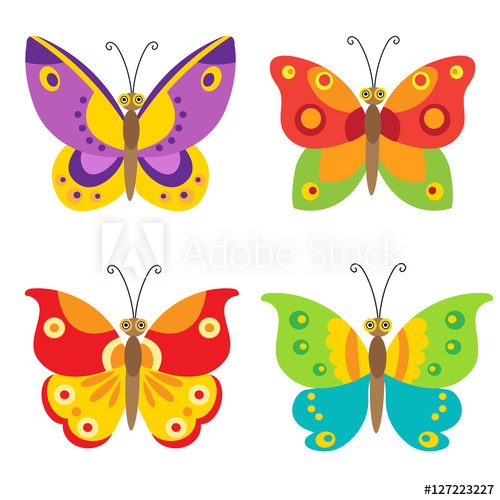 500x500 Set Of Simple Flying Butterfly. Butterfly Vector Set Icons