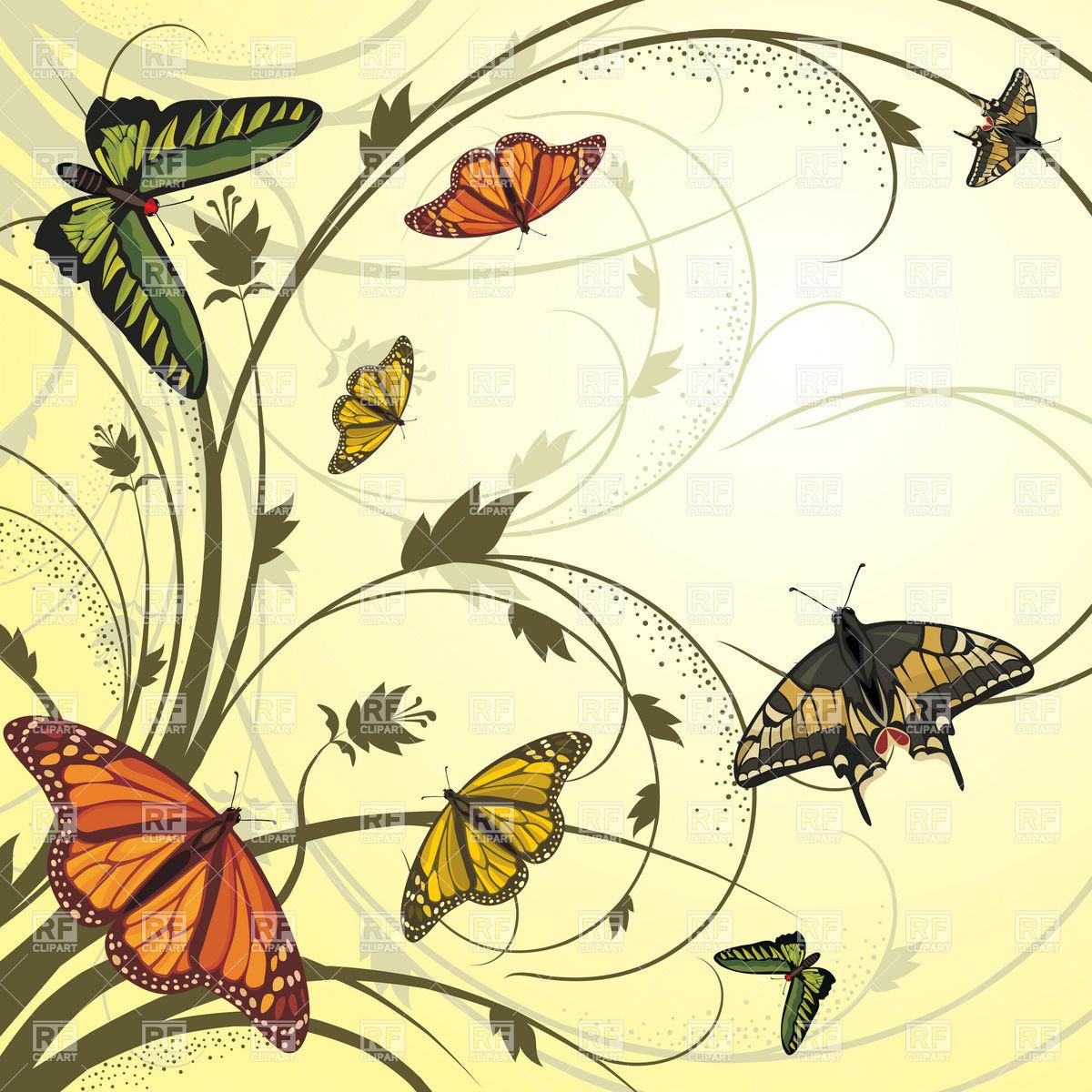 1200x1200 Vector Card With Flying Butterflies Vector Image Vector Artwork