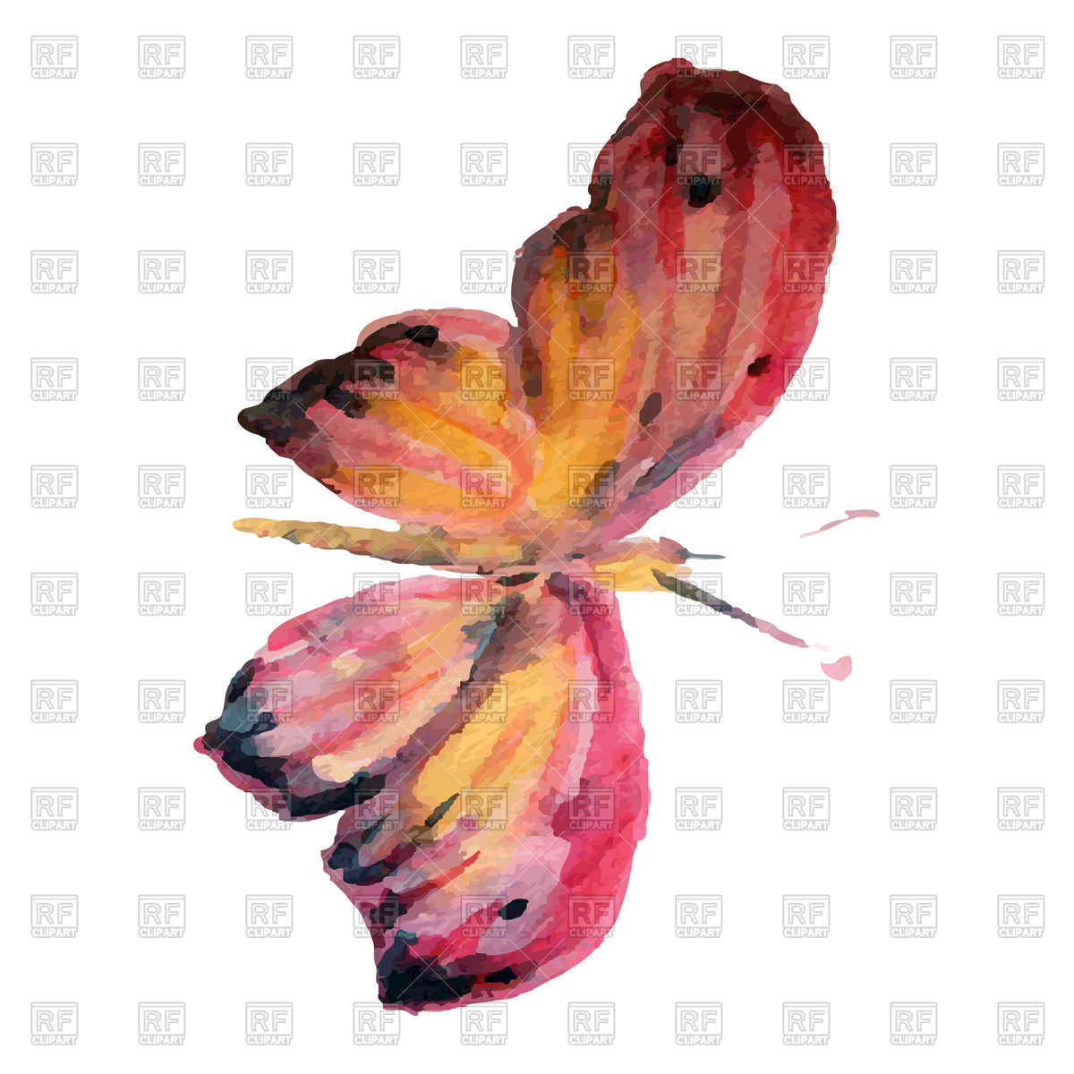 1200x1200 Watercolor Beautiful Flying Butterfly Vector Image Vector