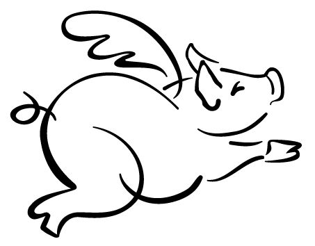 453x354 Free Flying Pig Clipart Flying Pig Outline Pigs