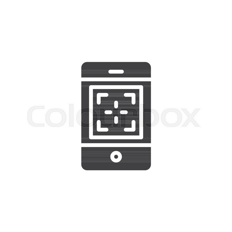 800x800 Mobile Phone Camera Focus Vector Icon. Filled Flat Sign For Mobile