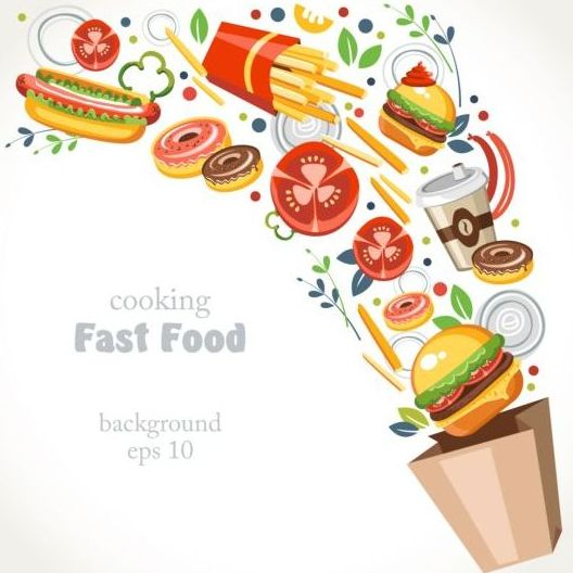 528x528 Fast Food Background Vector Free Download
