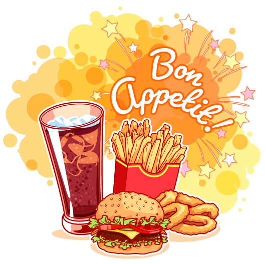 529x527 Fast Food With Grunge Background Vector 04 Free Download