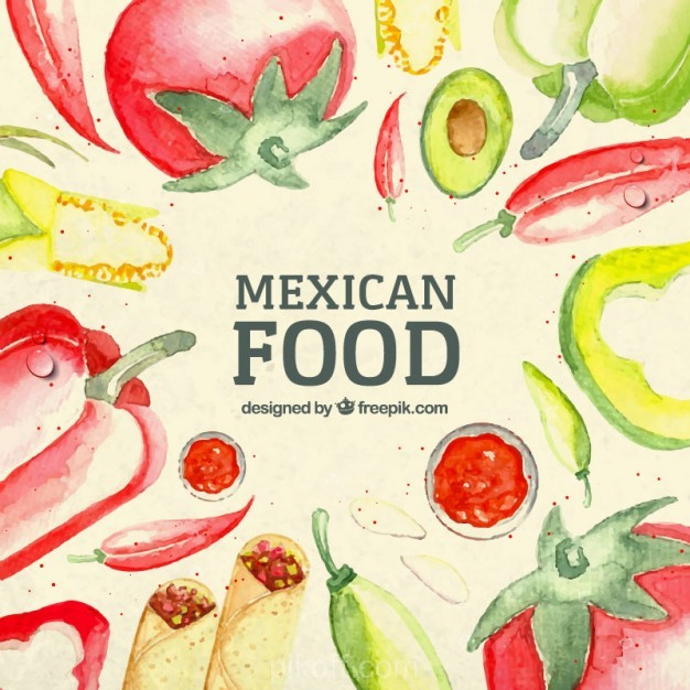 626x626 Ai] Watercolor Mexican Food Background Vector Free Download