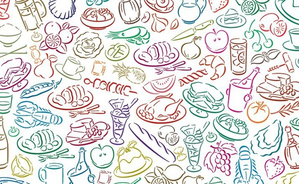 600x371 Food Pattern Background Colorful Hand Drawn Sketch Style Free