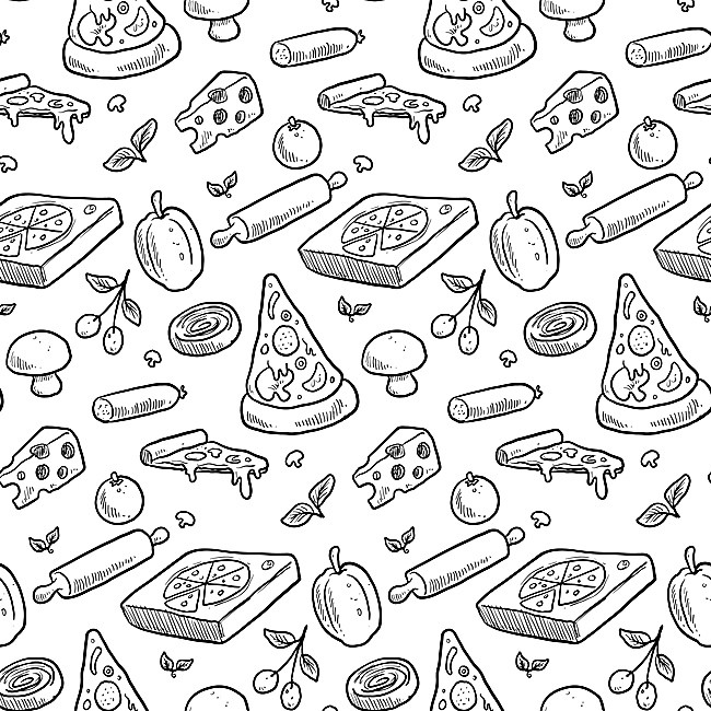650x650 Handpainted Background Pizza Seamless Vector, Hand Painted, Pizza