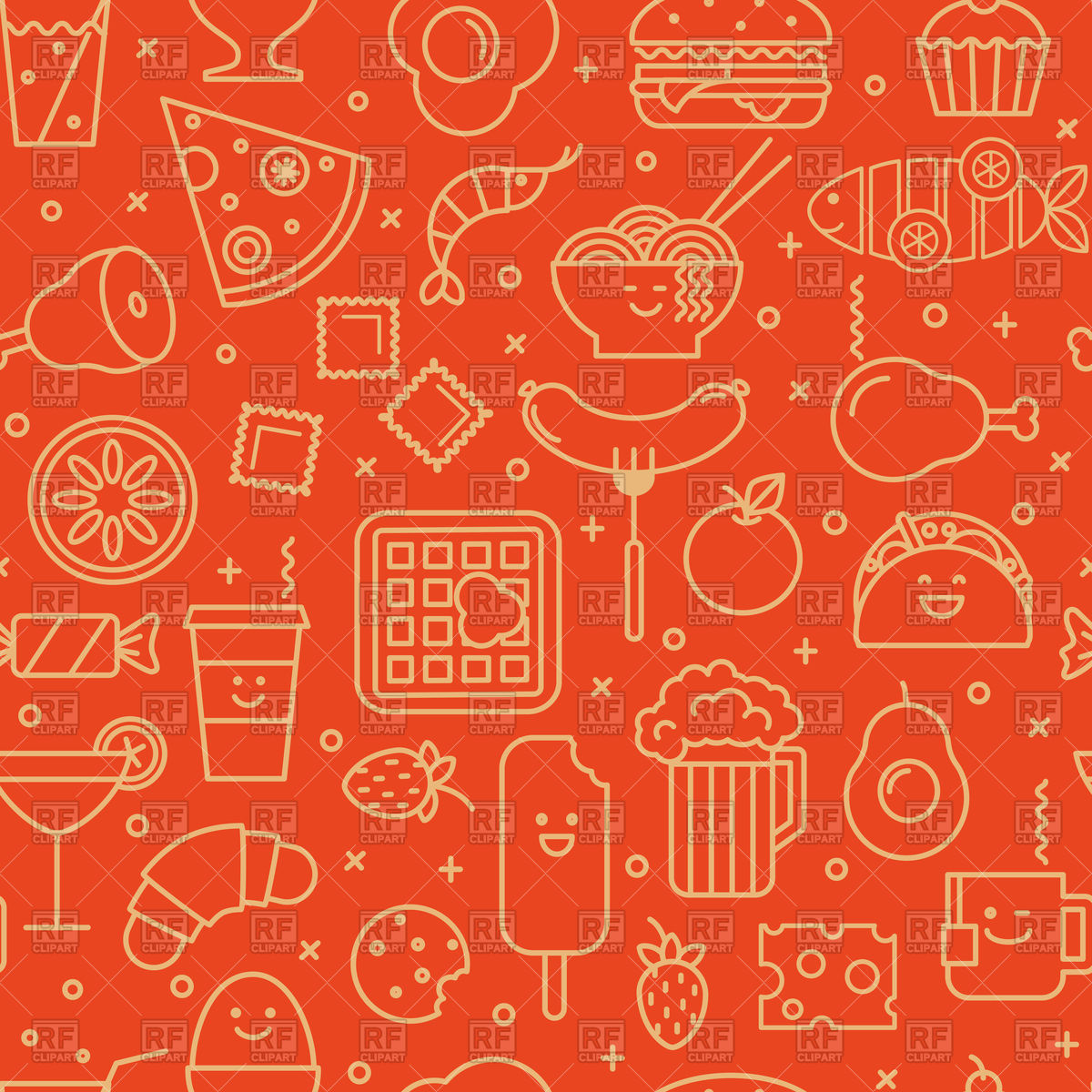1200x1200 Red Background With Food Icons Vector Image Vector Artwork Of