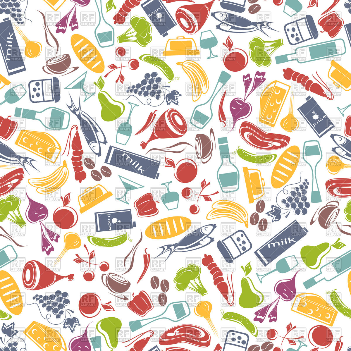 1200x1200 Seamless Food Background Vector Image Vector Artwork Of