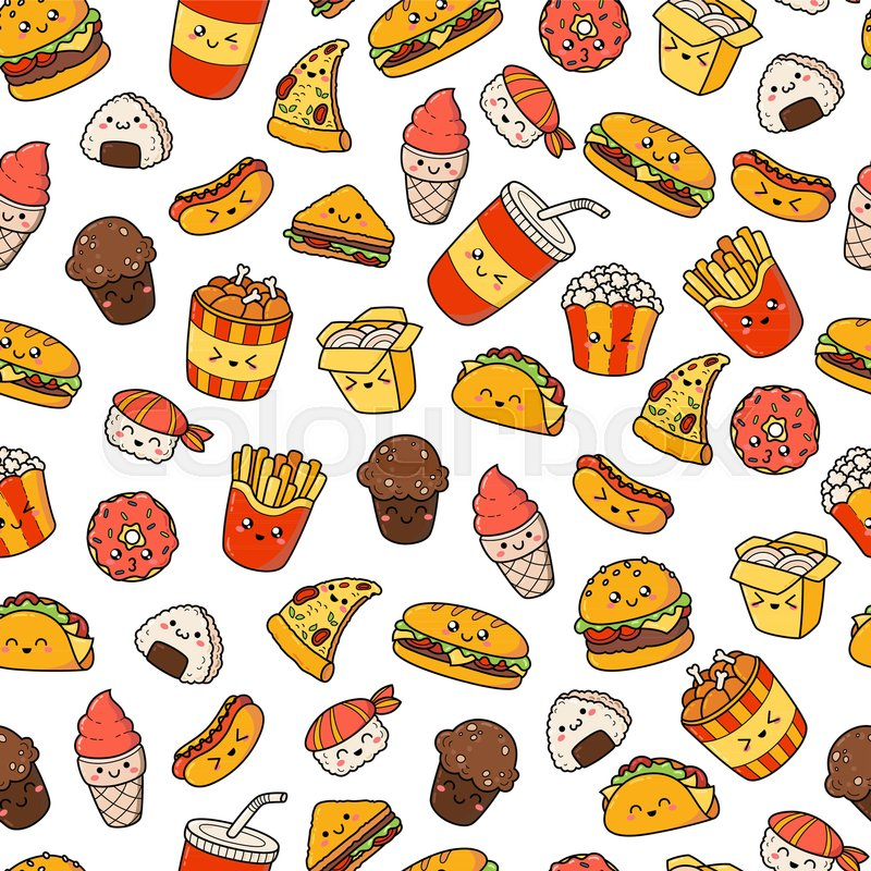 800x800 Set Of Vector Cartoon Doodle Icons Junk Food. Illustration Of